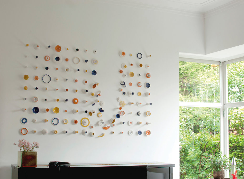 Porcelain Drawing #09 Orange, Blue & Yellow 128 <br> Private collection, Belgium